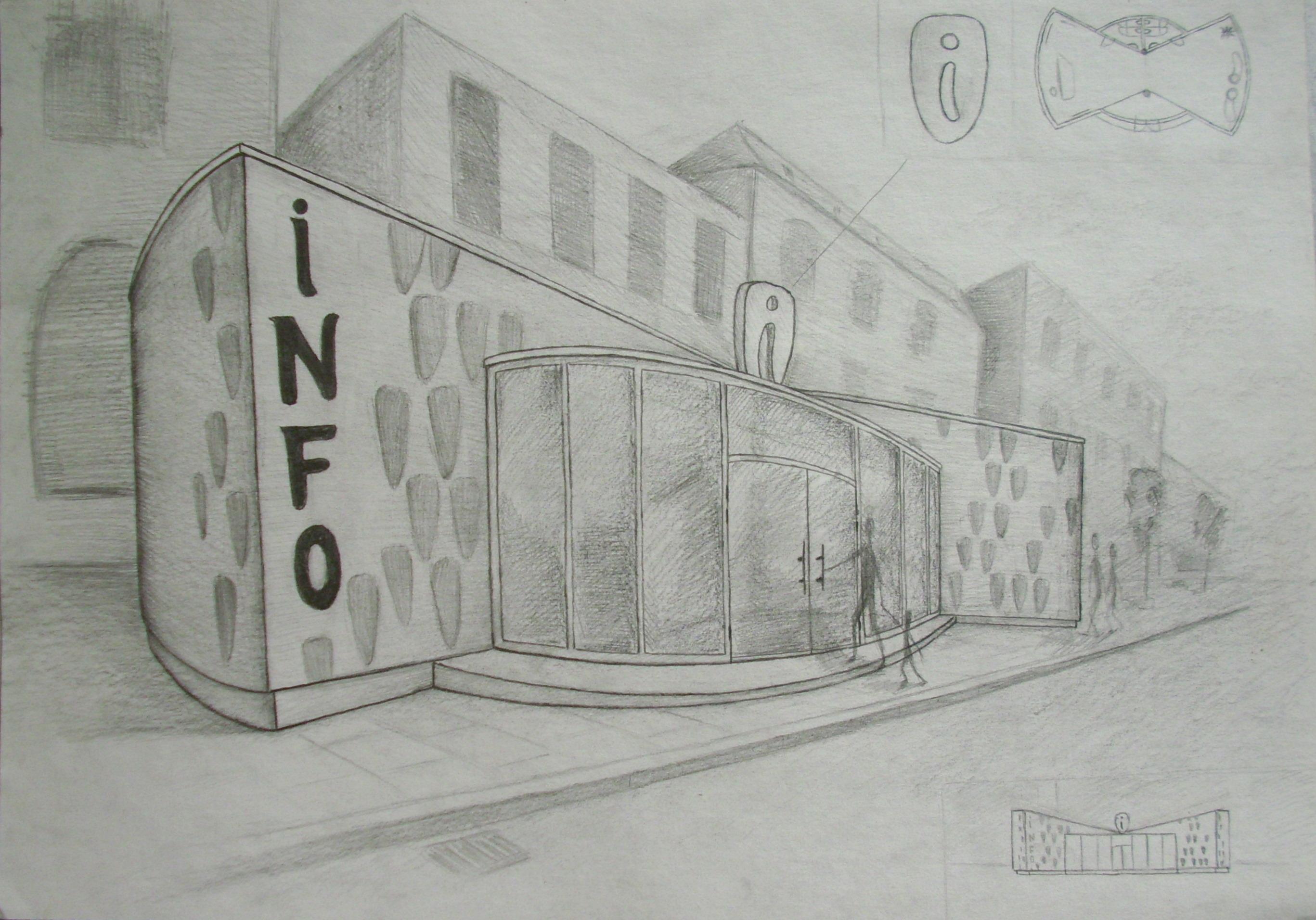 Info centras miesto centre. Perspektyva ir dvi projekcijos(per mažos)