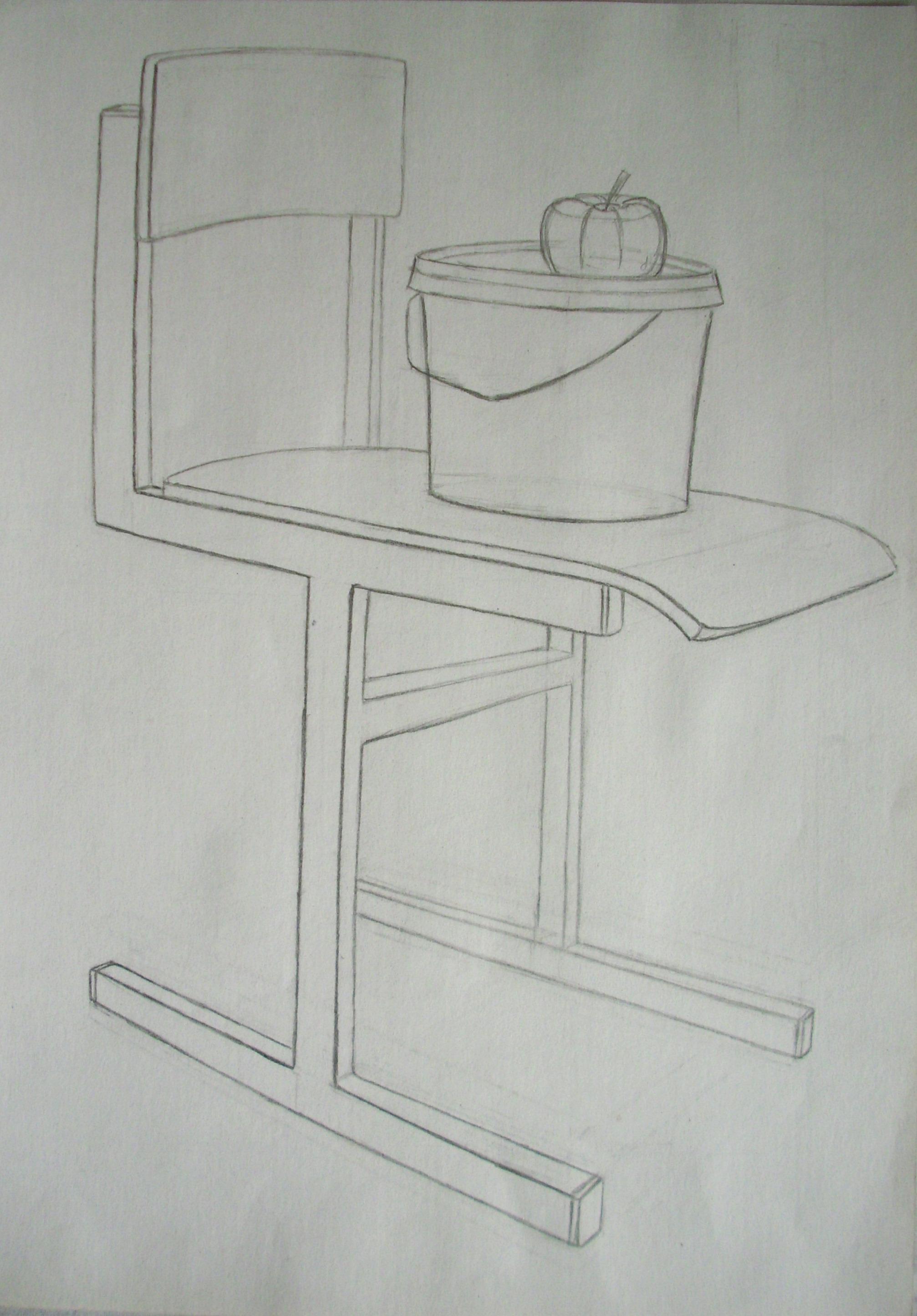 Taip pat kėdės. Labai svarbu išmokti piešti įvairias kėdes, taburetes. Per egzaminą man teko piešti taburetę