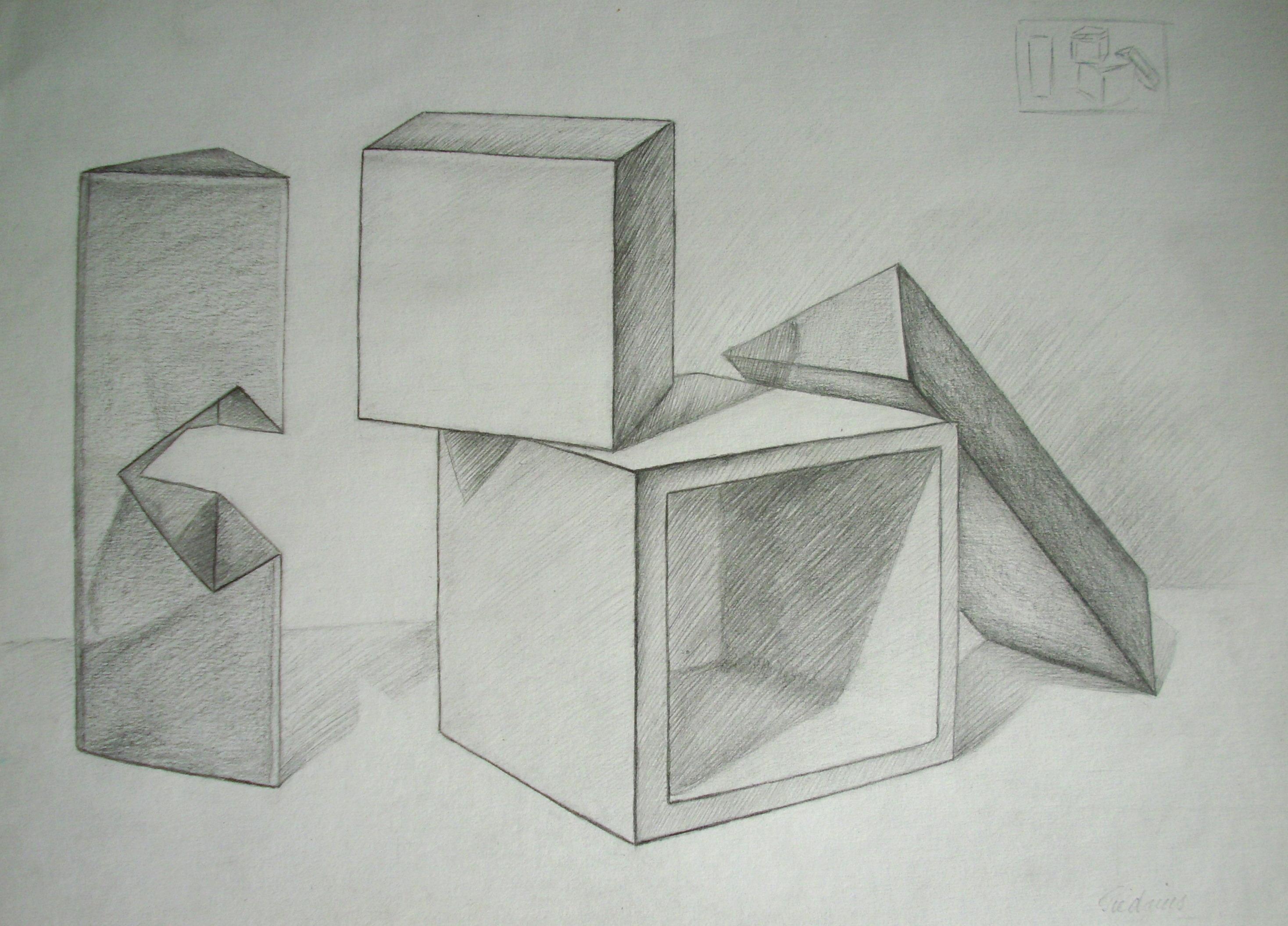 Įvairių formų ir medžiagiškumo natiurmortas