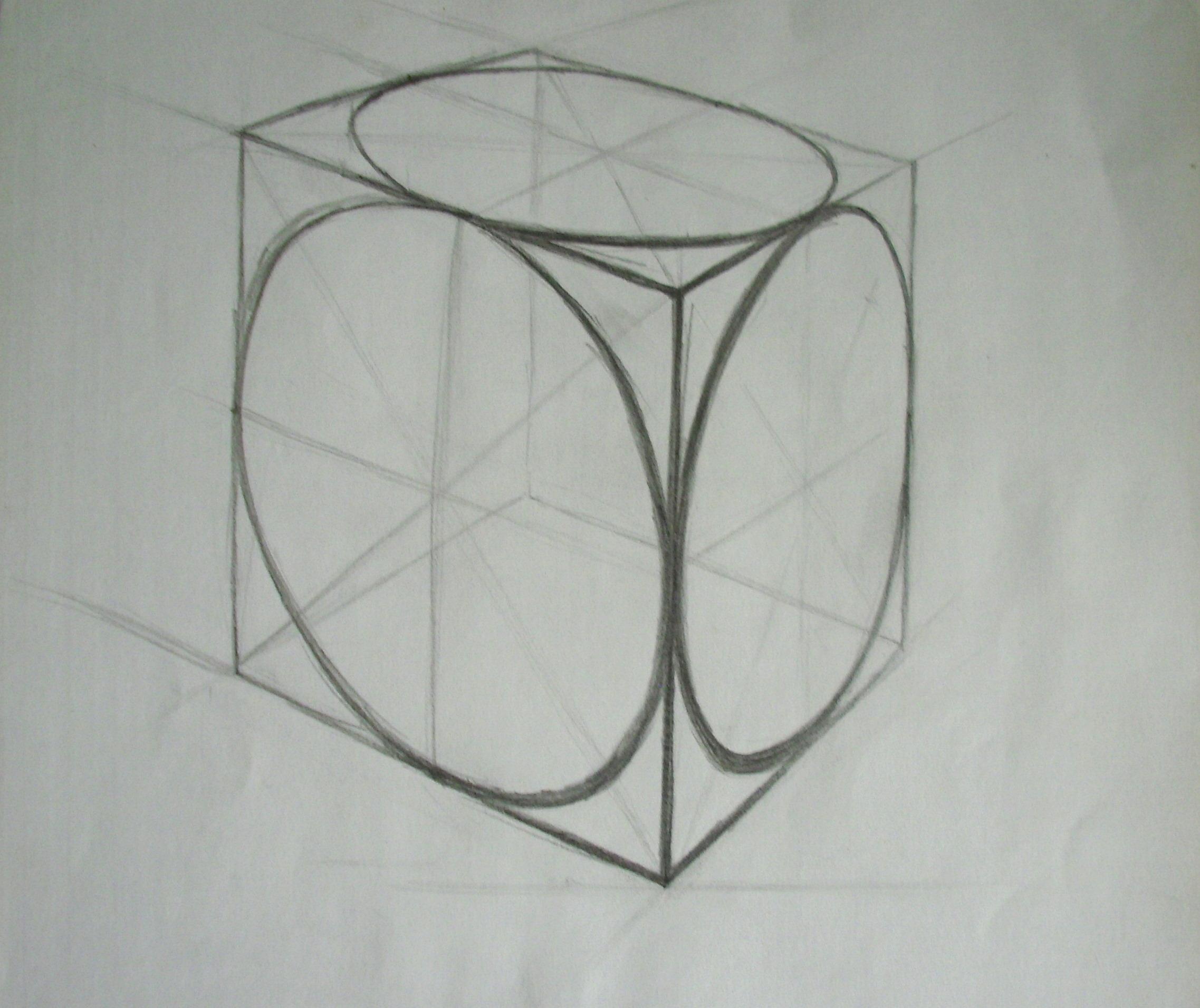 Pirmiausiai mokino piešti kubą su elipsėmis. Elipsės labai svrbu.