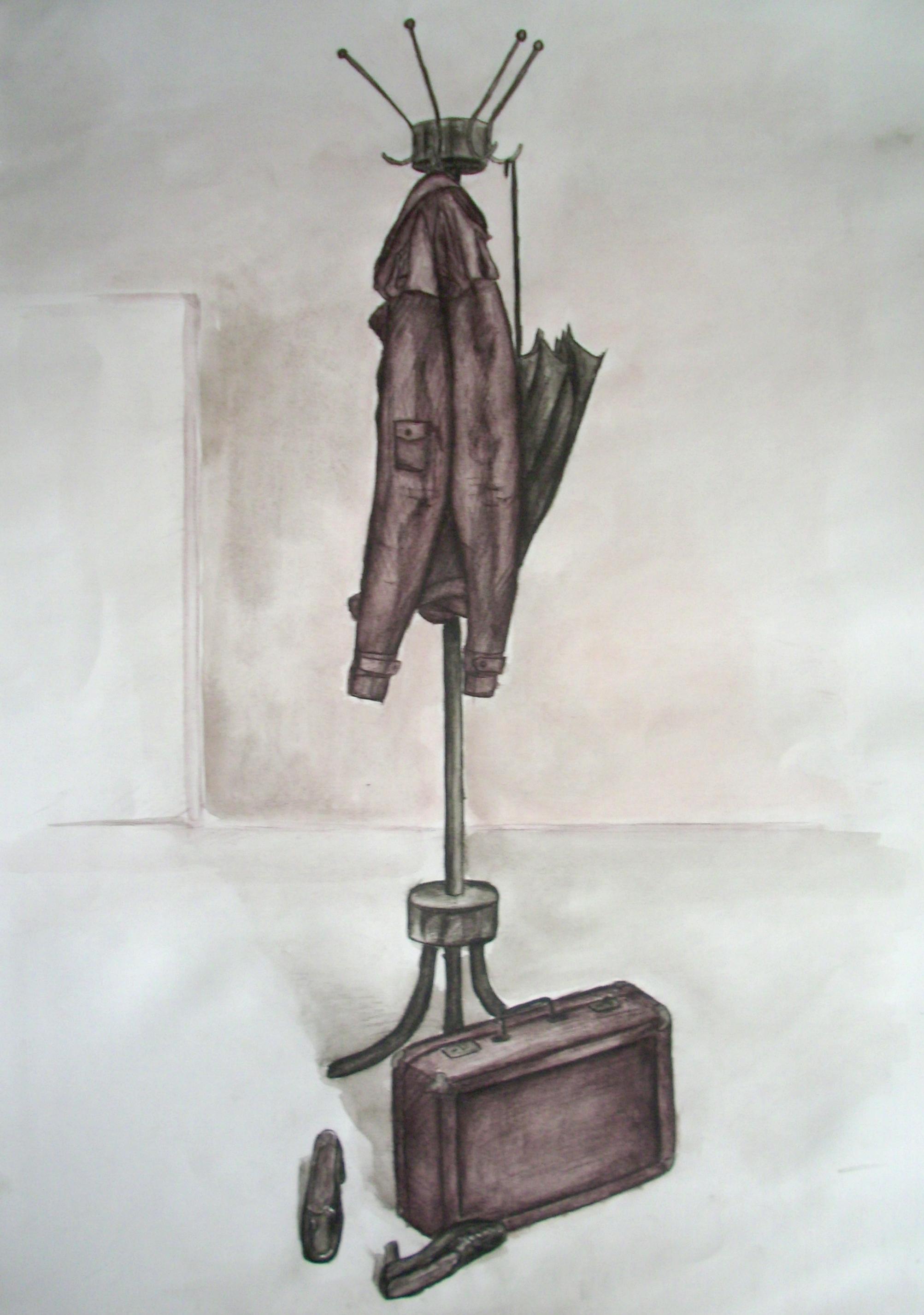 Pastatymas pieštas tušo ir akvareliniais pieštukais